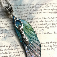 Blue and Green Goddess Fairy Wing Necklace