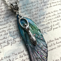 Blue and Green Aurora Borealis Goddess Fairy Wing Necklace