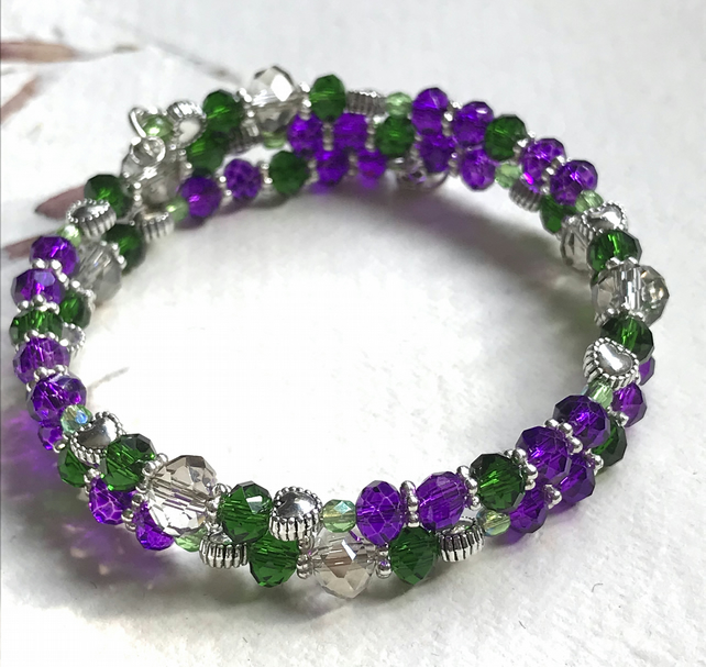 Purple and Green Goddess Beaded Memory Wire Bracelet