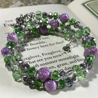 Lilac and Green Beaded Fairy Memory Wire Bracelet