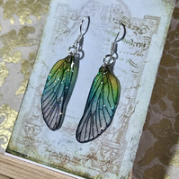 Enchanting Pastel Sterling Silver Fairy Wing Earrings
