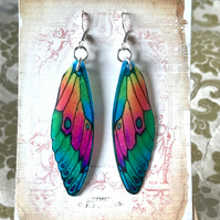 Colourful Fairy Wing Sterling Silver Earrings