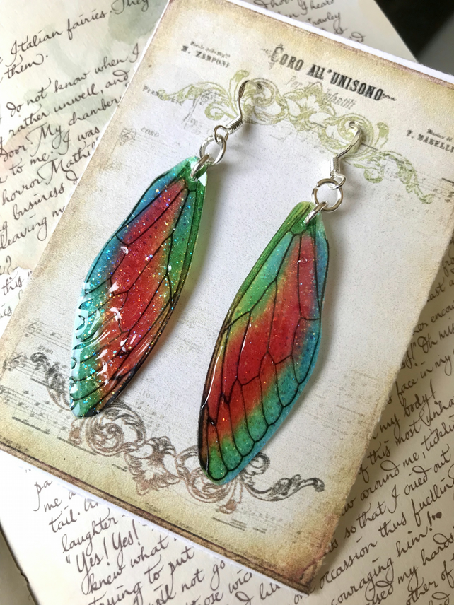 Brightly Coloured Fairy Wing Sterling Silver Earrings