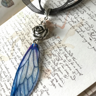 Rose and Blue Fairy Wing Necklace