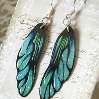 Green and Black Fairy Wing Sterling Silver Earrings