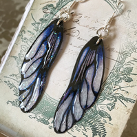 Lilac and Dark Purple Fairy Wing Sterling Silver Earrings