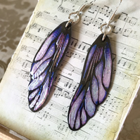 Purple and Black Fairy Wing Sterling Silver Earrings
