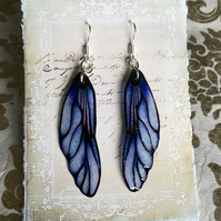 Periwinkle Lavender Blue and Black Fairy Wing Sterling Silver Earrings