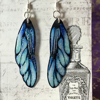 Blue and Black Frosted Fairy Wing Sterling Silver Earrings