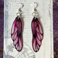 Frosted Pink Frosted Fairy Wing Sterling Silver Earrings