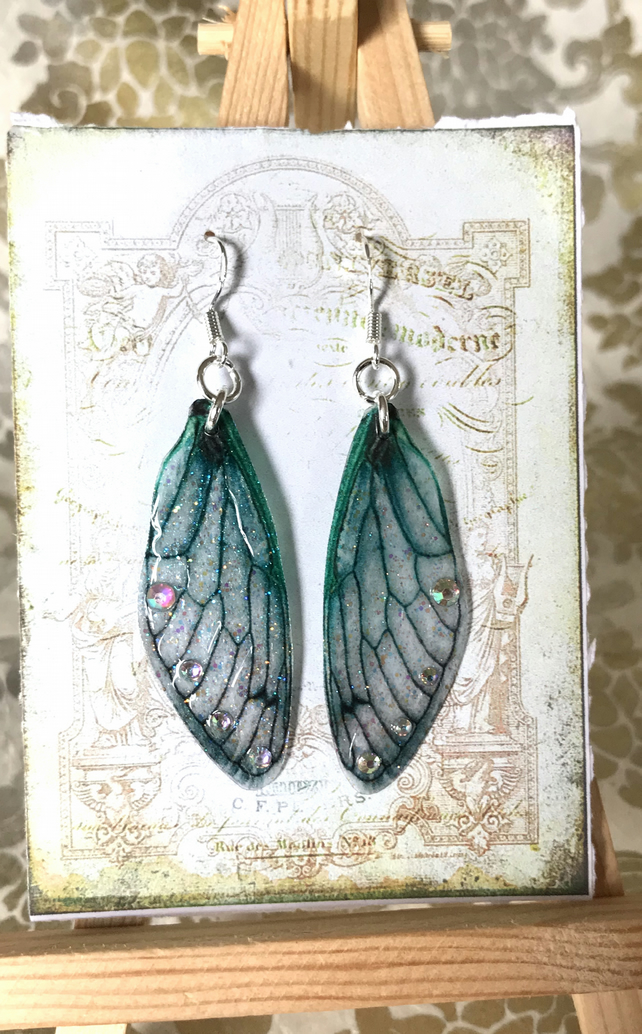 Sparkling Green Aurora Borealis Fairy Wing Sterling Silver Earrings
