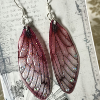 Dark Pink Aurora Borealis Fairy Wing Sterling Silver Earrings