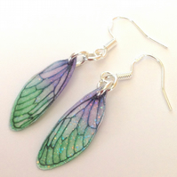 Dainty Green and Purple Fairy Wing Earrings Sterling Silver