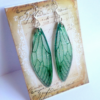 Large Green Fairy Wing Sterling Silver Earrings