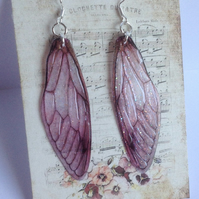 Large Dark Pink Fairy Wing Sterling Silver Earrings