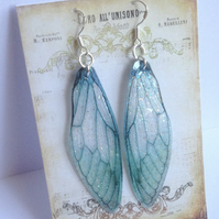 Large Sea Green Fairy Wing Sterling Silver Earrings
