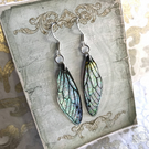 Black veined iridescent Sterling Silver Earrings