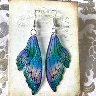 Iridescent Blue and Green Double Fairy Wing Earrings Sterling Silver