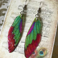 Pink Green Orange and Purple Fairy Wing Surgical Steel Earrings