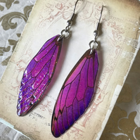 Purple and Pink Fairy Wing Surgical Steel Earrings