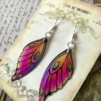 Purple Pink Orange and Yellow Fairy wing Earrings Sterling Silver Hooks