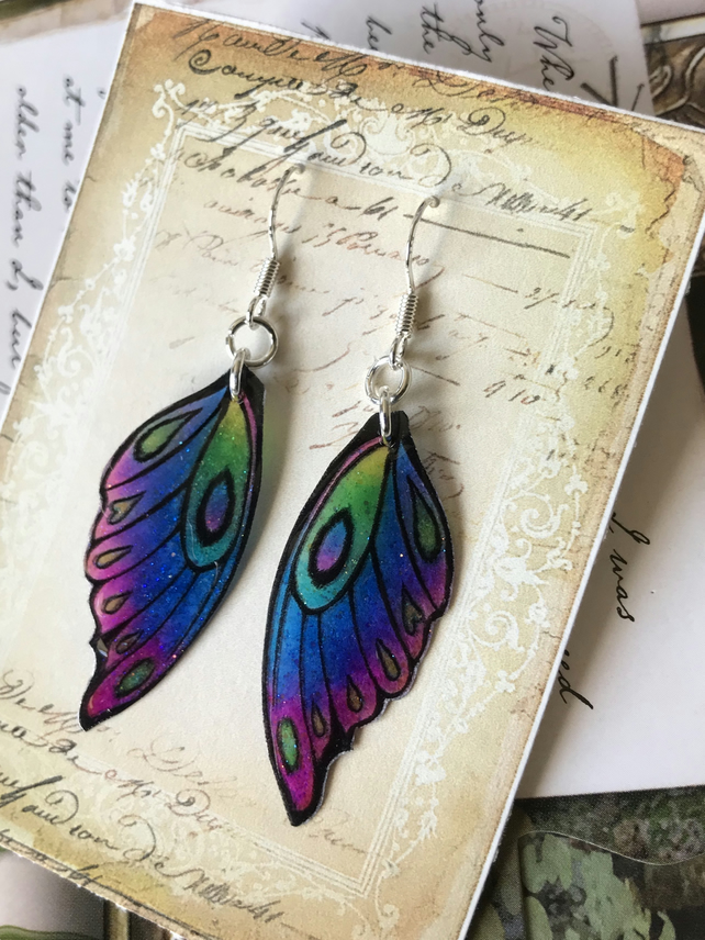 Blue Purple Pink Green and Yellow Fairy wing Earrings Sterling Silver Hooks