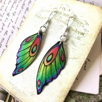 Green Yellow Orange and Purple Fairy wing Earrings Sterling Silver Hooks