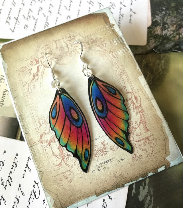 Pink Green Blue Purple Orange Yellow Fairy wing Earrings Sterling Silver Hooks