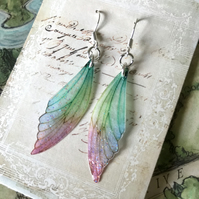Dainty Pastel Coloured Sterling Silver Fairy Wing Earrings Style 3