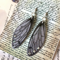 Black Veined Pale Mauve Grey Aurora Borealis Sterling Silver Fairy Wing Earrings