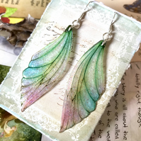 Large Pastel Coloured Sterling Silver Fairy Wing Earrings
