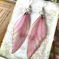 Sparkling Pink Sterling Silver Fairy Wing Earrings Style 3