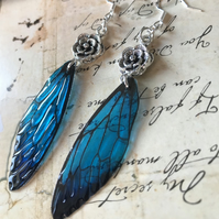 Transparent Blue Flower Fairy Sterling Silver Earrings