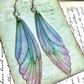 Large Pastel Coloured Sterling Silver Fairy Wing Earrings Style 2