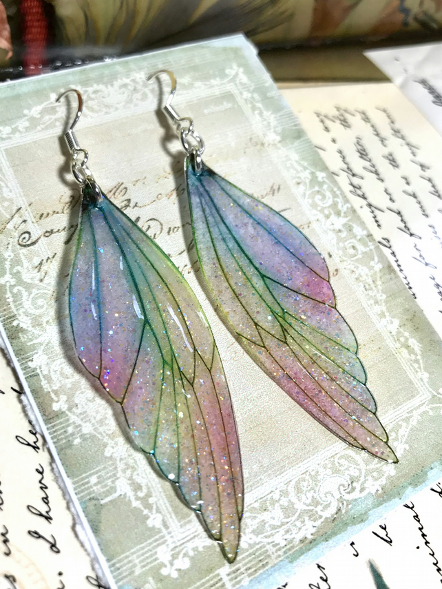 Pastel Coloured Sterling Silver Fairy Wing Earrings Style 3