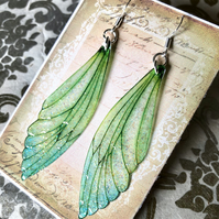 Large Green Sterling Silver Fairy Wing Earrings Style 2
