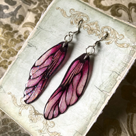 Pink and Black Fairy Wing Sterling Silver Earrings