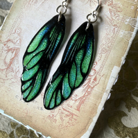 Green Dragon Fairy Wing Sterling Silver Earrings