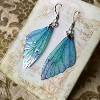 Blue and lavender pastel fairy wing sterling silver earrings