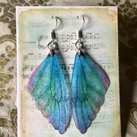 Blue green and pink fairy wing sterling silver earrings