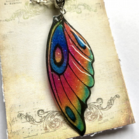 Pink Green Blue Purple Orange Fairy Wing Necklace