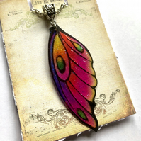 Purple Pink Orange and Yellow Fairy Wing Necklace