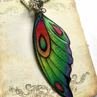 Green Yellow Orange and Purple Fairy Wing Necklace