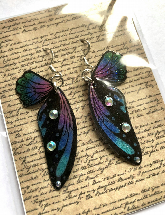 Blue Purple and Black Double Fairy Wing Sterling Silver Earrings