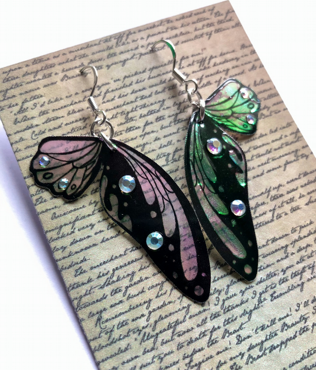 Iridescent and Black Double Fairy Wing Sterling Silver Earrings