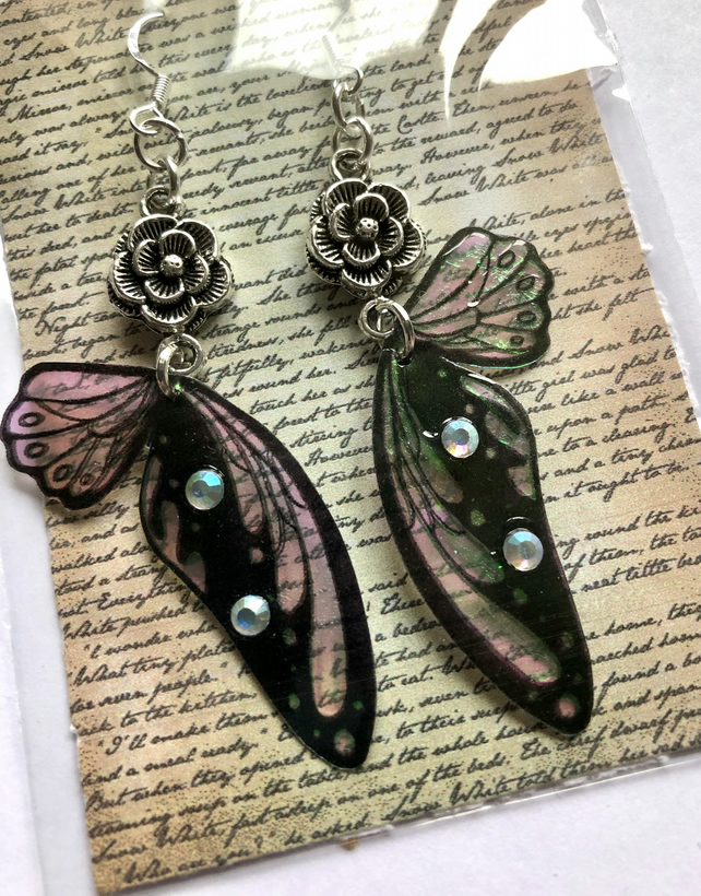 Iridescent Flower Fairy Wing Sterling Silver Earrings