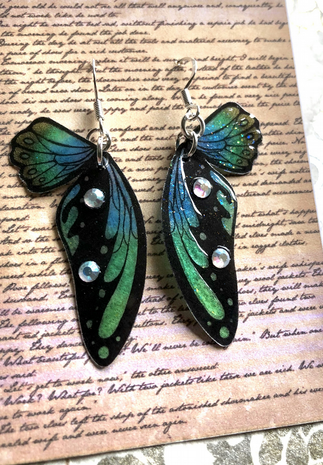 Green Blue and Black Double Fairy Wing Sterling Silver Earrings