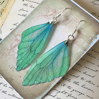 Green and Blue Fairy Wing Sterling Silver Earrings