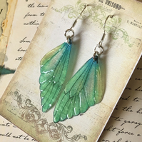 Green Lemon and Blue Fairy Wing Sterling Silver Earrings