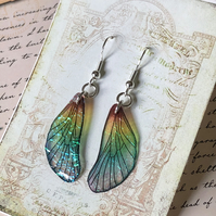 Dainty Iridescent Fairy Wings Sterling Silver Earrings